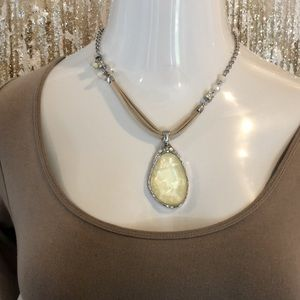NWOT CHICO'S SILVER AND YELLOW PENDANT NECKLACE